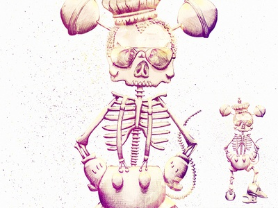 The Real Little Mouse illustration bic pen mouse tooth poster lollipop skeleton bones