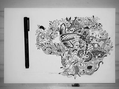 Doodles illustration doodle ink black  white draw