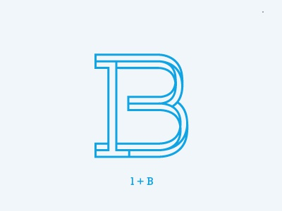 B monogram outlines initials identity typography letter logo blue cyan monogram b