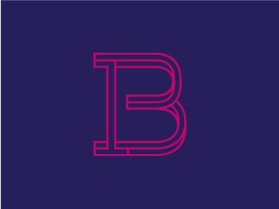 B monogram  outlines monogram letter initiale identity b rubine blue typography logo