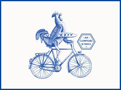 Aux Comptoirs de France logo duotone ink draw bic pen illustration food blanc bleu acdf aux comptoirs de france