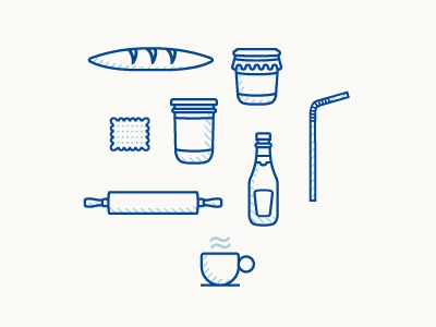 Food pattern (wip) meat icons grocery branding design pattern french biscuit blue food picto illustration
