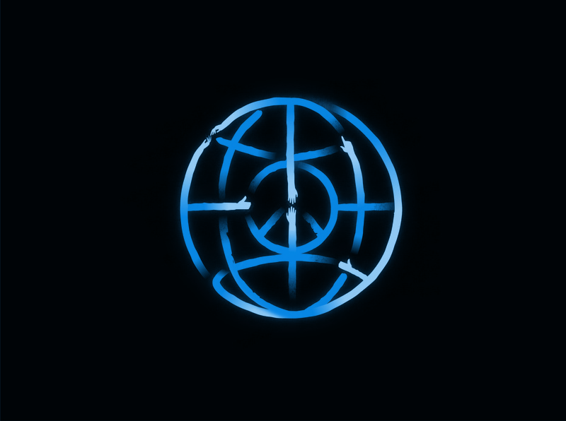 A symbol for peace intervention 2 earth map nations world peace unidad unity freedom design illustration logo geometry