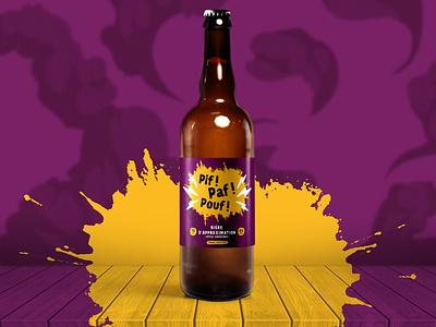 """""""Pif ! Paf ! Pouf !"""" homemade beer label beer label design brewing homemade beer"""