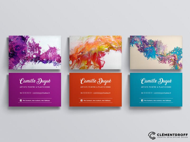 Business card Camille Dugué, artist artwork artistic artist art visual identity business cards business card design business card design