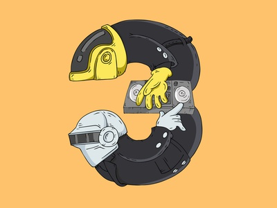 3 - Pozitif Lucky Numbers - Daft Punk video game web type vector logo brand lettering mobile typography design character identity animation illustrator illustration digital branding concept badge