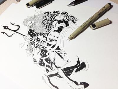 poseidon horse god pen art paper art book art drawing drawing letters skech character illustrator illustration ink art ink