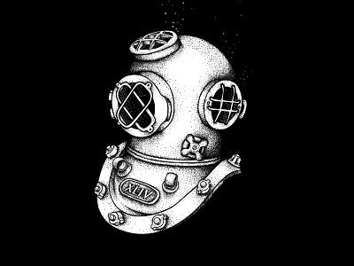 Diver ocean water black black  white concept design digital point character illustrator illustration