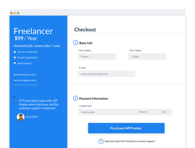 wp pusher checkout page redesign