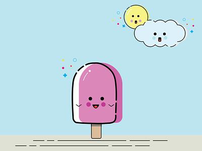 Tempting Ice Cream! cloud sun ice cream vector mbe style design illustration