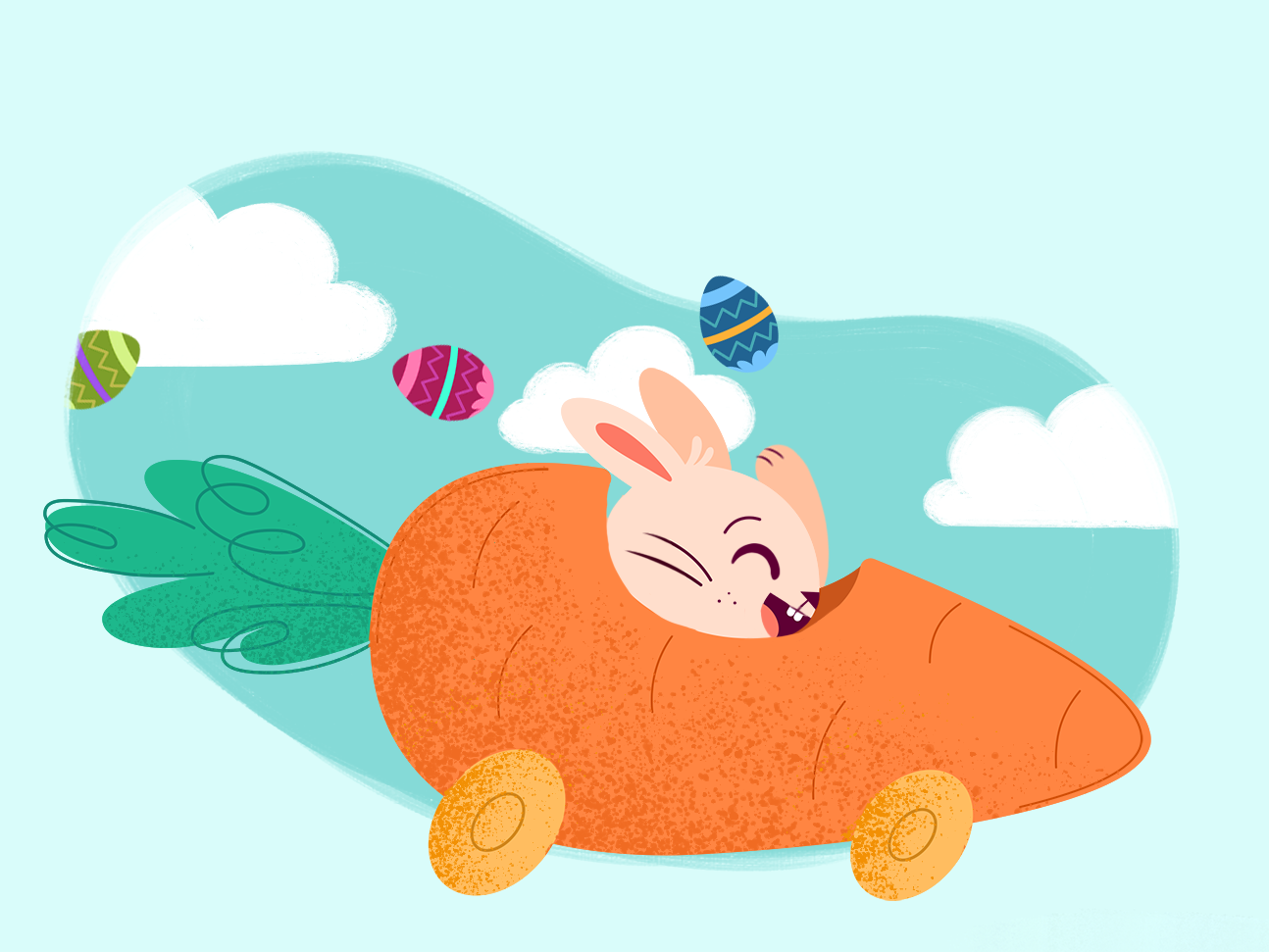 Easter Bunny art digital texture carrot bunny easter egg illustrator vector illustration