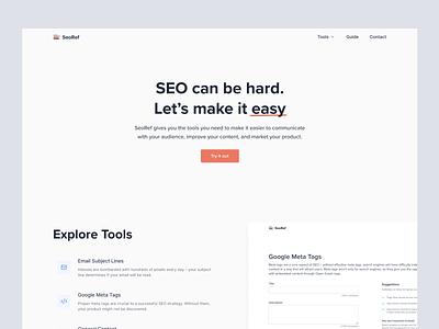 SeoRef - Landing Page mvp feature list header hero simple landing page minimal