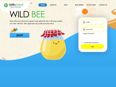Wildbee Natural Website homepage design illustrator 2d iconlogo adobe photoshop logo photoshop logodesign graphicdesign flat adobe