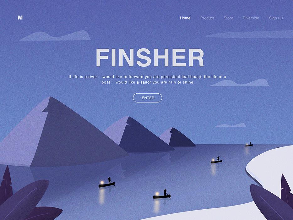 Finsher finsher mountain web illustration design