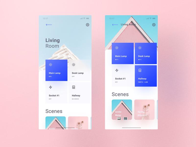 Cream Theme Smart Home app typography design creamery themes colors hue philips hue lamp socket home smart smart home user interface user experience ux ui pink creamy cream