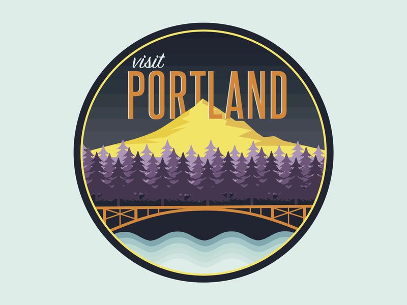 Visit Portland Badge type water trees blue mountain illustration visit color gradient badge portland logo