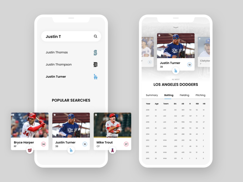 Baseball Stats Mobile App dailyui dodgers stats baseball mobile mobile app design mobile app iphone ux android ux design ui clean design