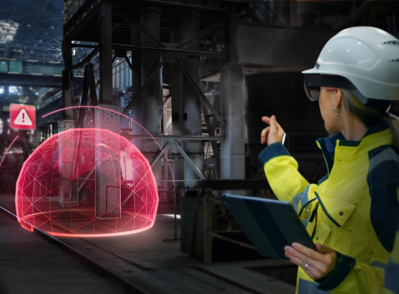 AR Safety fence spatial augmented reality lighting safety ui hologram photoshop industrial factory