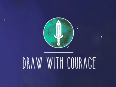 Draw with courage #1 brush courage sword learning character design pencil type logo