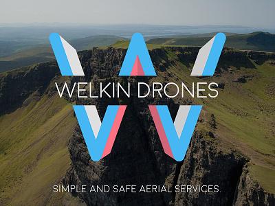Welkin Drones - Launch business brand landscape aerial drone launch logo