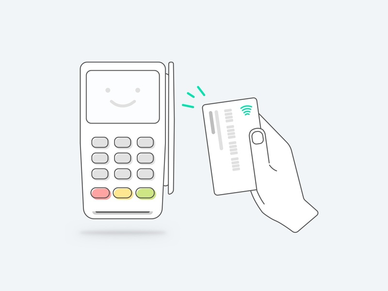 Payment Device w/Contactless payment sketch vector payments card reader card terminal illustration payment pos payment device ped