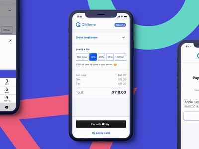 Pay at Table (Web App) iphone payment method payment food ordering food and drink web app ux ui design mockup