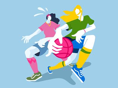 First Shot girlpower perspective vector illustration sport women girls basketball