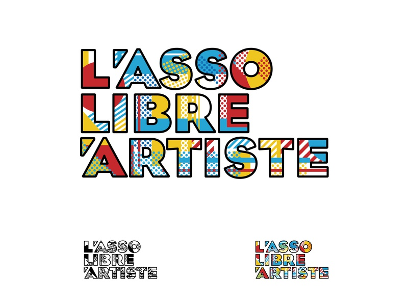 LALA trame bleu jaune rouge pop art logo