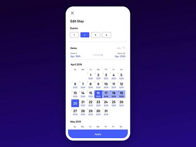 Calendar price refresh animation product design mobile app design datepicker calendar mobile app flutter app ux ui animation design