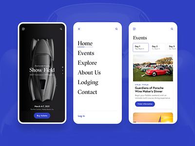 Auto Show concept designs events typogaphy menu logo branding flutter app ux ui design