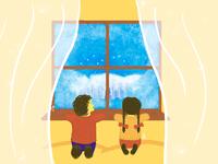 Kids by the window