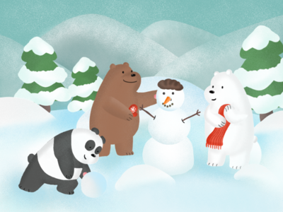 Bare bears in lovely winter