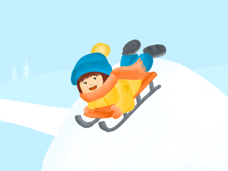 Kids Have Fun In Winter child baby snow sled kid winter design illustration
