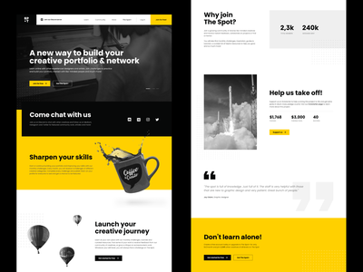 The Spot landing page website flat identity branding design minimal figma ux ui web design