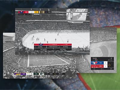 Sports Broadcast Interface Designs design flat broadcast interface tv baseball football nba mlb nfl nhl hockey sports