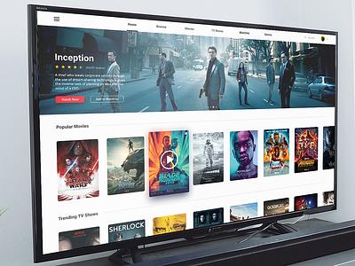TV App Design mockup concept figma semiflat flat ui daily ui tv series streaming movies design app tv