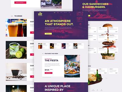 Liverpool Bar Redesign concept ux semiflat minimal web flat ui design drink eat hamburgers sandwiches drinks menu drinks menu landing page home page redesign bar liverpool