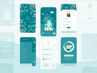 Narayan Tea 🌿 tea ui ux icon vector flat 2d illustration app mobile app ui design ui