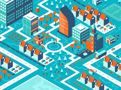 Quiet Town 🏤 illustrator debut graphic  design isometric illustration landscape city isometric flat 2d illustration