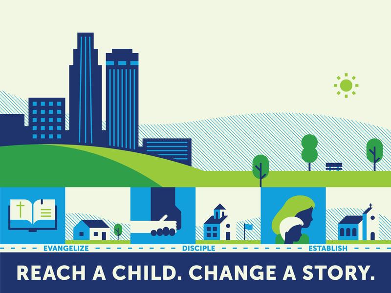 Reach a child. Change a story. park trees buildings bible church house school fellowship evangelism child children illustration nebraska omaha