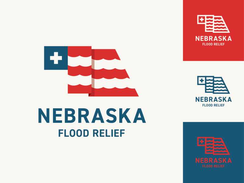 Nebraska Flooding rivers state flag red white and blue american america water relief flooding flood nebraska