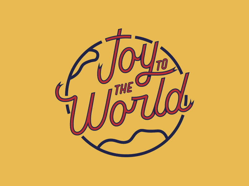 Joy to the World cross ribbon bible emmaus college earth lettering world christmas joy