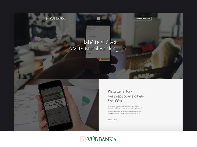 Microsite for VUB Bank | Mobile Banking webdesign
