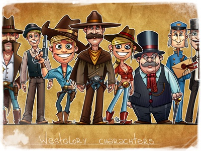 Westglory charachters charachters illustration game cowboy wild west