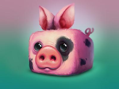 Piggy animal cube character wacom photoshop 2d iamjoka pig illustration art
