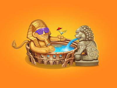 sfinks singapore italy travel egypt wacom illustration iamjoka digitalart characters art 2d
