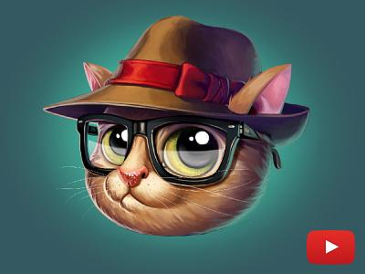 Hipster kitty 2d iamjoka tutorial video cat character design character art