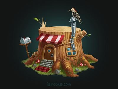 Stumphouse art illustration 2d house stump raster stumphouse