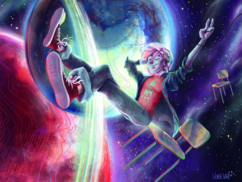 Spacechill boy illustration space planet