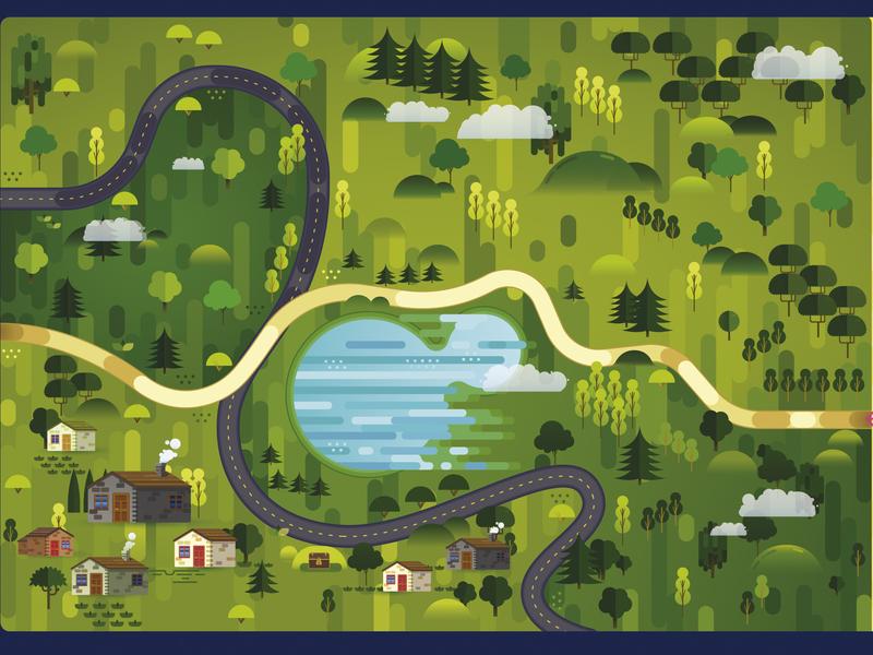 Forest landscape vector illustration maps road forest